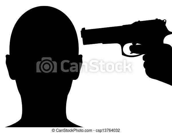 Gun pointing to head. Illustration of a person with a gun ...