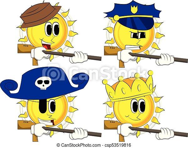 gun., sol, caricatura, grande - csp53519816
