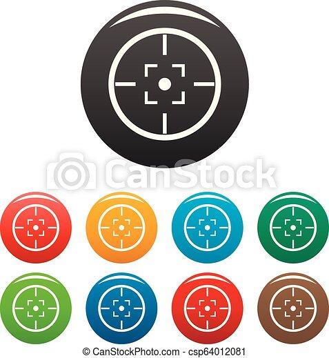 Gun Target Icons Set Color