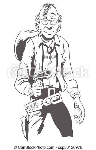 Vaquero con pistola. Ilustración de acciones. - csp50126976