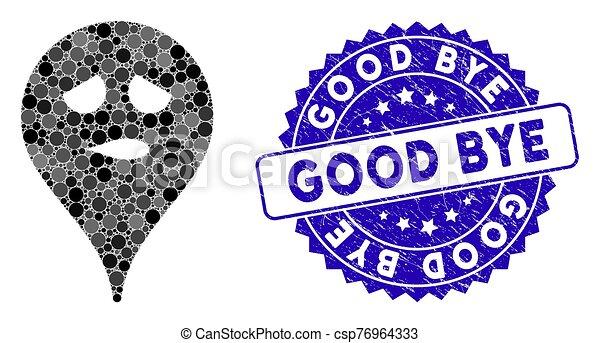 Guten Markierung Landkarte Grunge Smiley Ikone Denken
