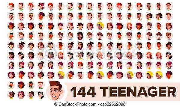 Avatar adolescente vector. Chica, chico. Multi racial. Enfrentar emociones. Retrato de personas multinacionales. Hombre, mujer. Étnico. El icono de los propietarios actuales. Ilustración de dibujos planos - csp62662098