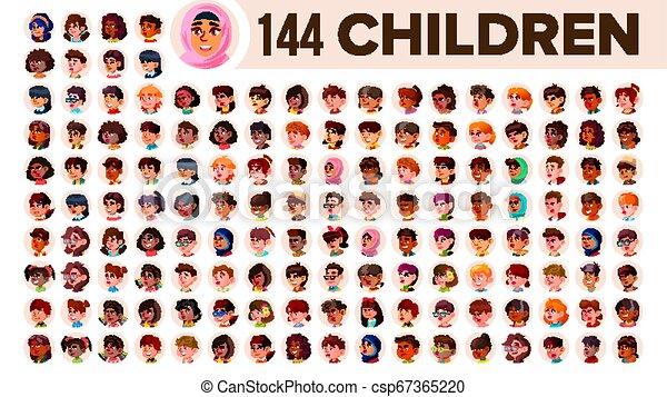guy., ensemble, gens, arab., mâle, female., asiatique, enfants, ethnic., vector., multinational, plat, illustration, portrait., utilisateur, enfant, multi, européen, figure, girl, africaine, avatar, icon., racial., emotions. - csp67365220