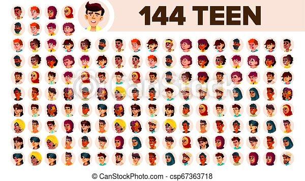 guy., ensemble, gens, mâle, female., asiatique, ethnic., adolescent, vector., multinational, plat, illustration, portrait., utilisateur, arab., multi, européen, figure, girl, africaine, avatar, icon., racial., emotions. - csp67363718