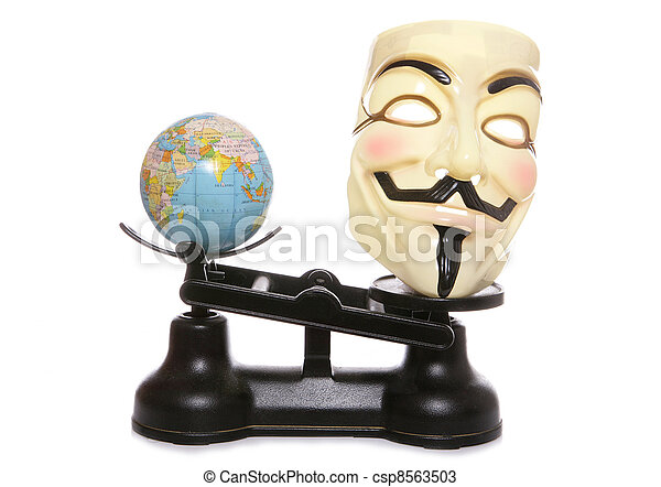 Guy fawkes mask on scales with a globe - csp8563503