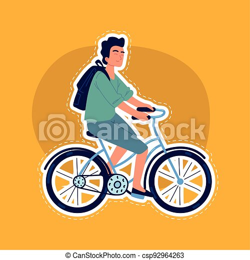 guy on bicycle sticker - csp92964263