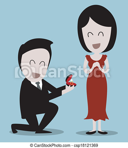 Guy On Knees Proposing Girl Will You Marry Me Clip Art Vector