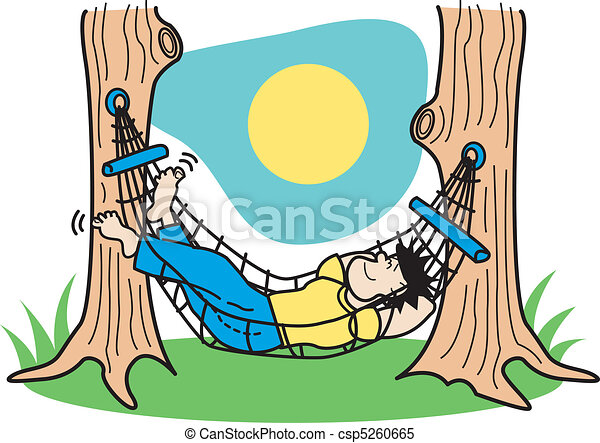 Guy Sleeping In Hammock Clip Art - csp5260665