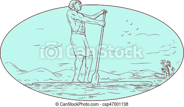 Guy Stand Up Paddle Tropical Island Oval Drawing