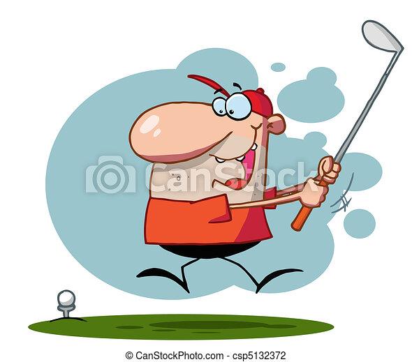 Guy Swinging His Golf Club  - csp5132372