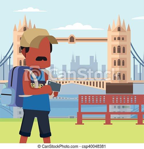guy traveller in tower bridge - csp40048381