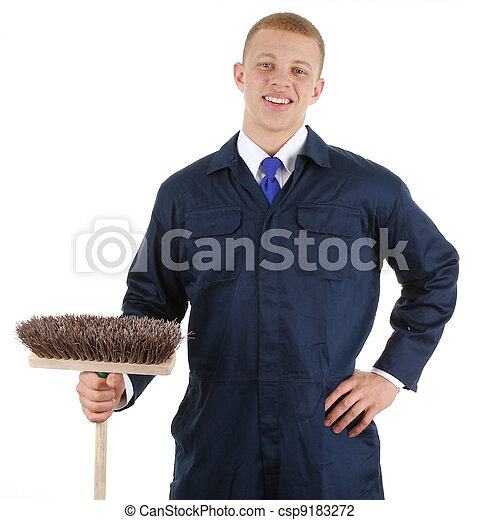 Guy with a broom - csp9183272
