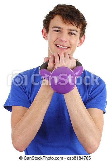 Guy with a dumbell - csp8184765