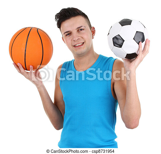 Guy with a football and a basketball - csp8731954