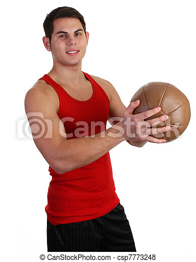 guy with a medicene ball - csp7773248