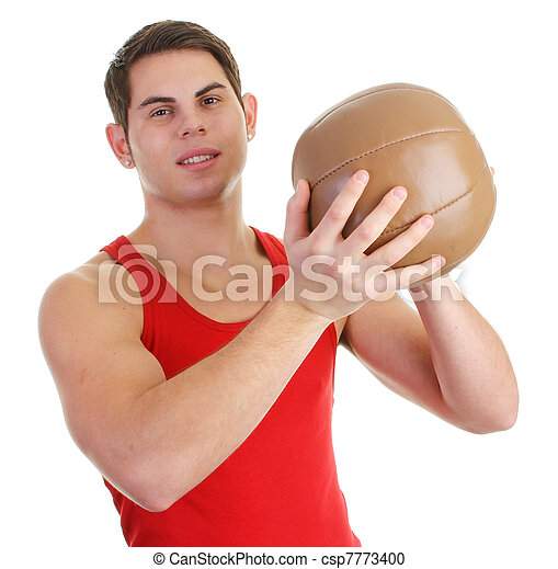 guy with a medicene ball - csp7773400