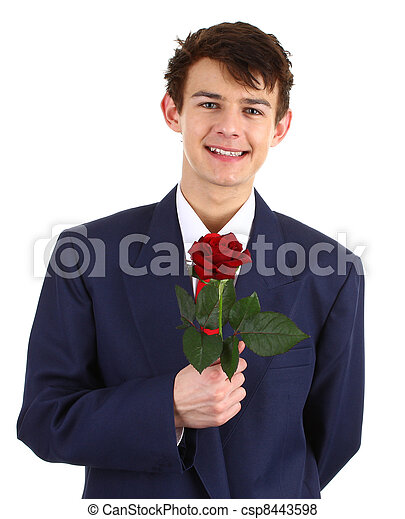 Guy with a red rose - csp8443598