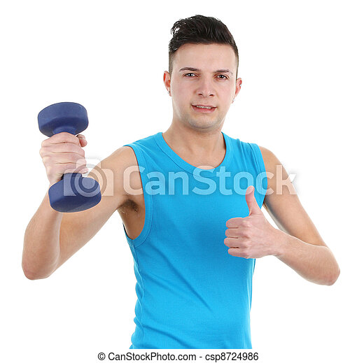 guy with dumbell - csp8724986