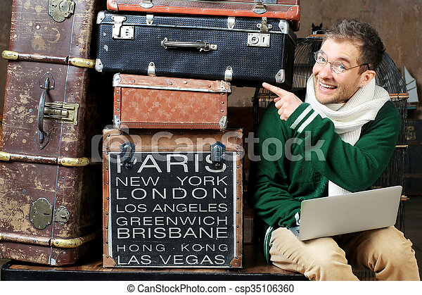 Guy with luggage - csp35106360