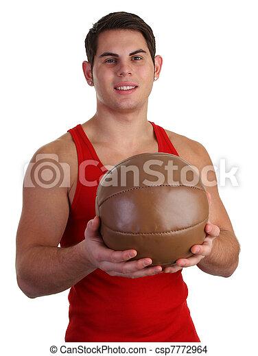 guy with medicene ball - csp7772964