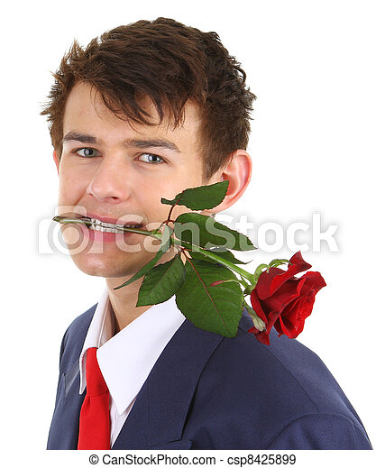 guy with rose - csp8425899