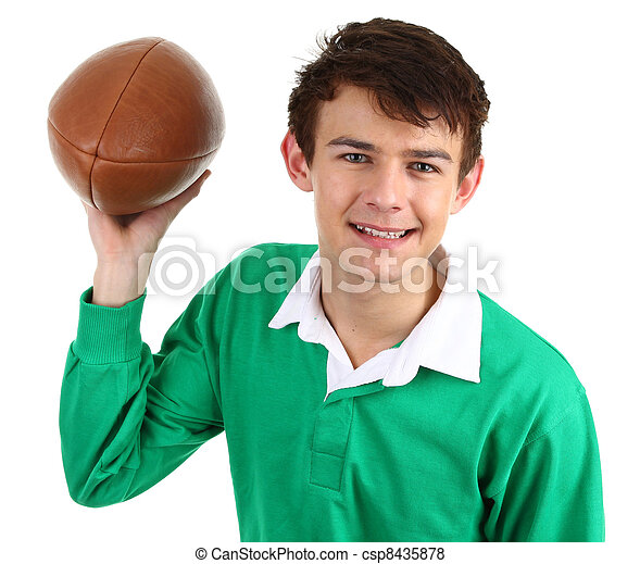 guy with rugby ball - csp8435878