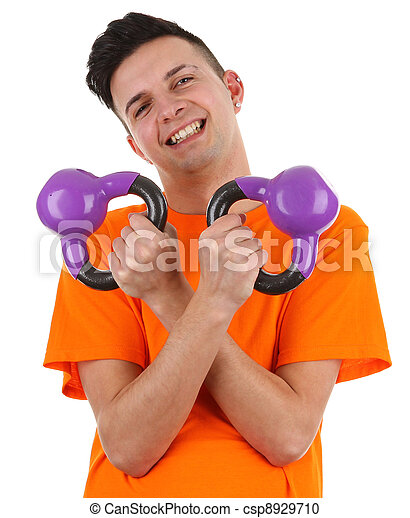 guy with weights - csp8929710