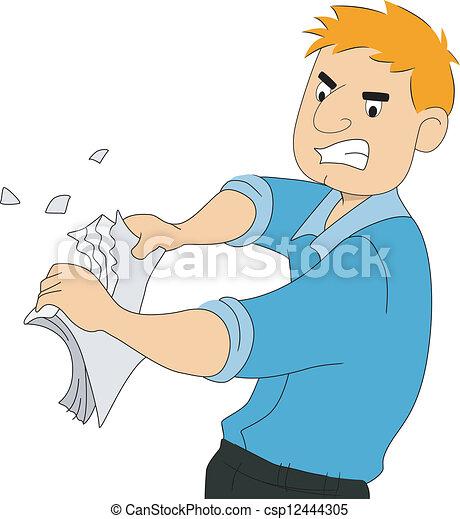 Guy Writer Tears Paper - csp12444305