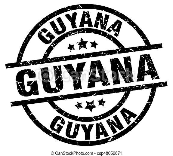 Guyana black round grunge stamp - csp48052871