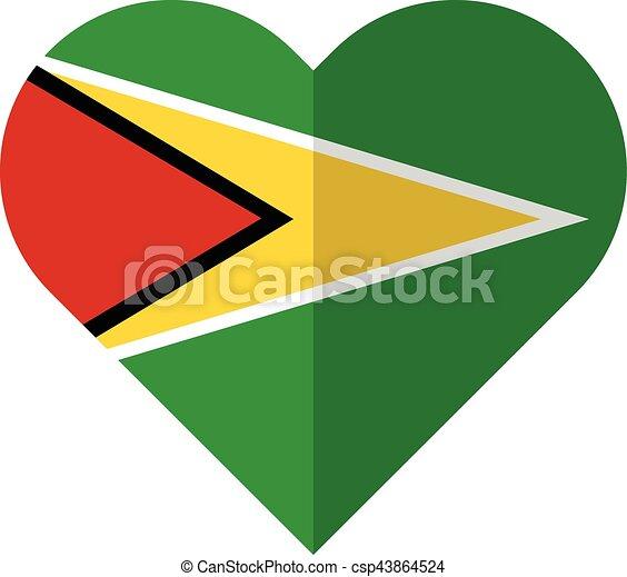 Guyana flat heart flag - csp43864524