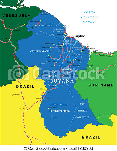 Guyana map. Highly detailed vector map of guyana with administrative ...
