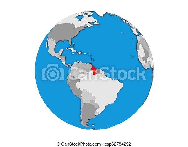 Guyana on 3D globe isolated - csp62784292