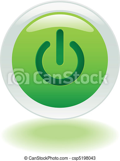 guzik, od, jarzący się, moc, albo - csp5198043
