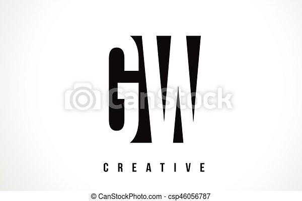 Gw G W White Letter Logo Design With Black Square Gw G W White