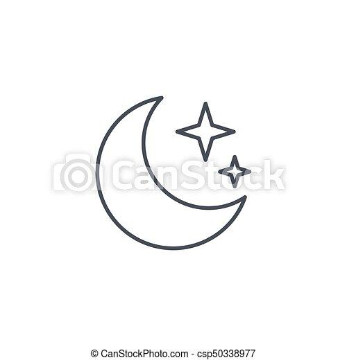 Gwiazda Linearny Symbol Księżyc Wektor Cienka Lina Noc Icon Gwiazda Linearny Piktogram Odizolowany Icon Księżyc Canstock