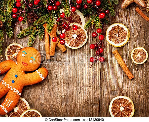gyömbéres mézeskalács, háttér., ünnep, karácsony, ember - csp13130940