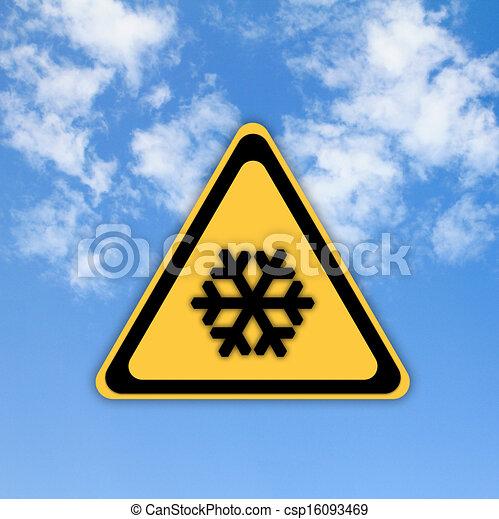 gyönyörű, ég, hó, aláír, háttér., figyelmeztetés - csp16093469