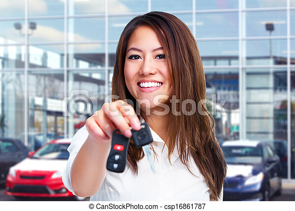gyönyörű, autó woman, key. - csp16861787