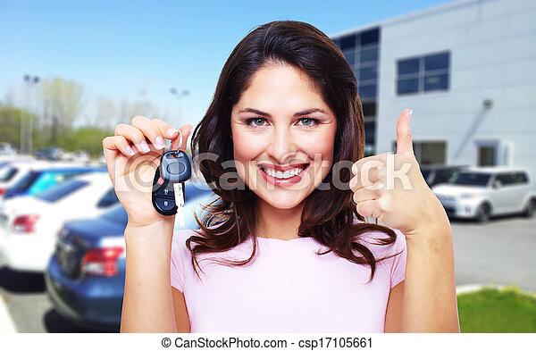 gyönyörű, autó woman, key. - csp17105661