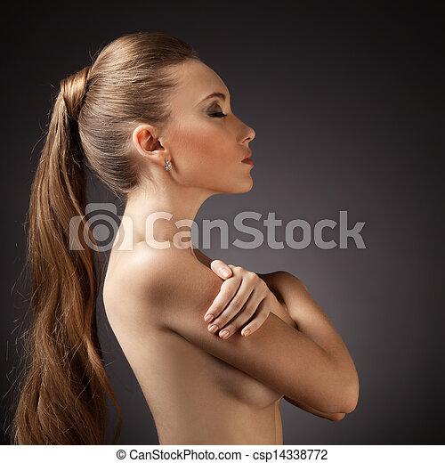 gyönyörű, barna, nő, hosszú szőr, portrait. - csp14338772