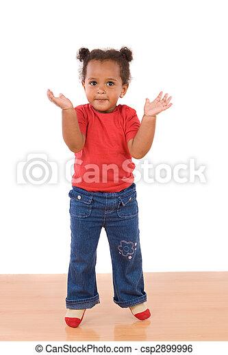 gyönyörű csecsemő, ugrás, imádnivaló, afrikai - csp2899996