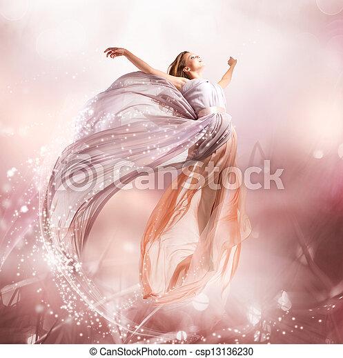 gyönyörű, fújás, varázslatos, flying., fairy., leány, ruha - csp13136230