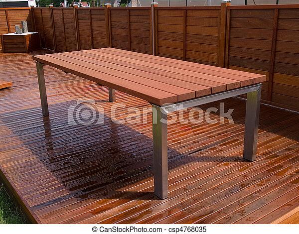 gyönyörű, fedélzet, keményfa, mahagóni, emelet, asztal - csp4768035