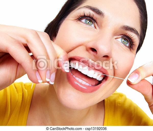 gyönyörű, fogászati, nő, floss. - csp13192036