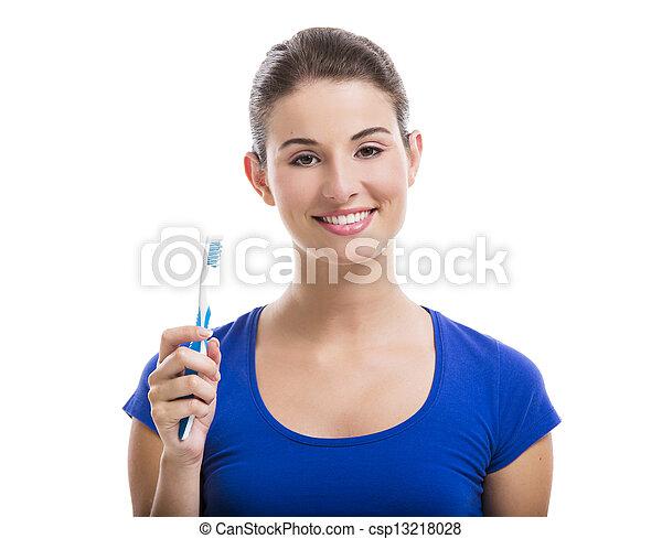 gyönyörű, fogkefe, nő - csp13218028