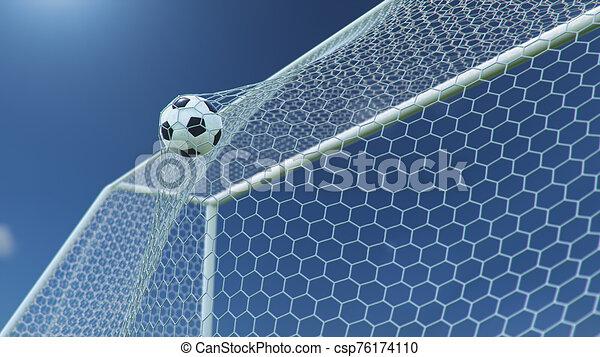 gyönyörű, goal., kék, gól, háttér., pillanat, ellen, futball, előrehajol, ég, háló, sky., háló, gyönyörködtet, ábra, repült, labda, háttér, 3 - csp76174110