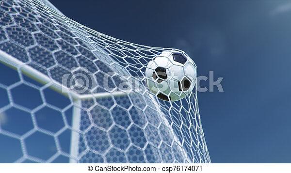 gyönyörű, goal., kék, gól, háttér., pillanat, ellen, futball, előrehajol, ég, háló, sky., háló, gyönyörködtet, ábra, repült, labda, háttér, 3 - csp76174071