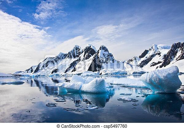 gyönyörű, hegyek, hólepte - csp5497760
