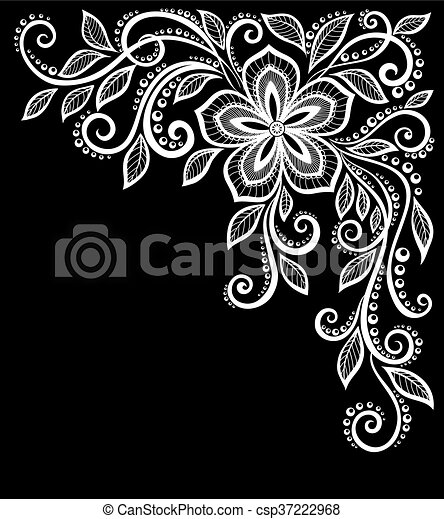 gyönyörű, isolated., zöld, fekete, monochrom, white virág - csp37222968