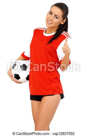 gyönyörű, játékos, futball, női - csp12837052